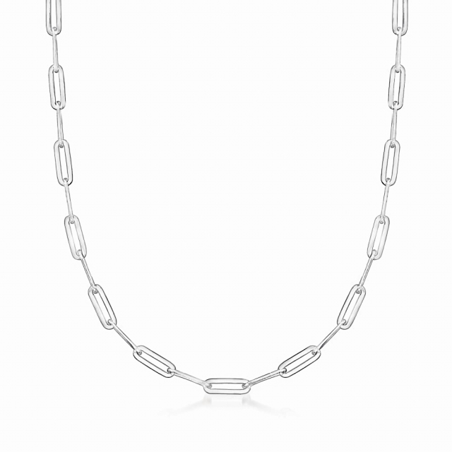 """24"""" Sterling Paperclip Chain Necklace (5mm) w Rhodium Finish"""