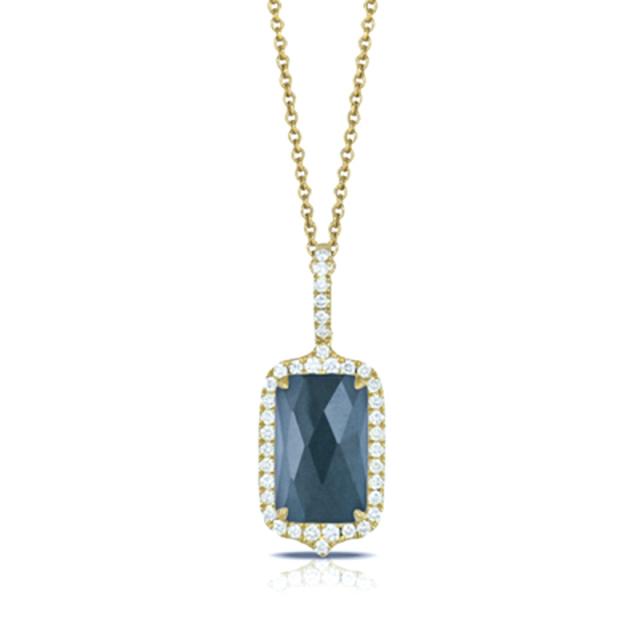 GOLD DIAMOND PENDANT WITH SWISS BLUE TOPAZ/HEMATITE