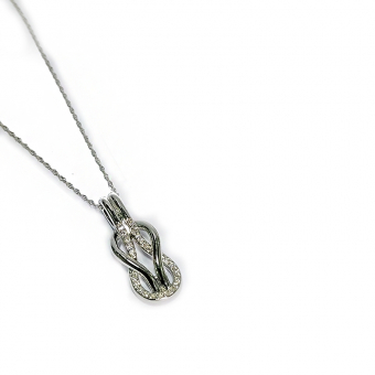 14k Gold Infinity Necklace w Pave Diamonds