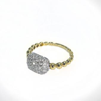 14K Gold Bead Shank Pave Diamond Ring