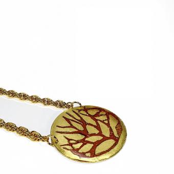 Gold-Leaf Twig Art Pendant