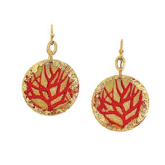 Gold-Leaf Twig Earrings w Crystals