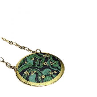22K Gold-Leaf 'Malachite' Art Pendant w Crystals