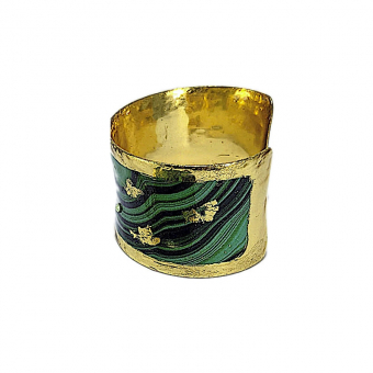 22K Gold-Leaf 'Malachite' Art Cuff w Crystals