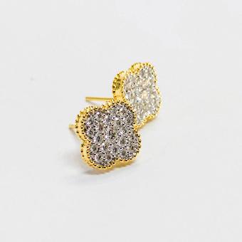 14k Gold & Diamond Quatrefoil Pendant Earring