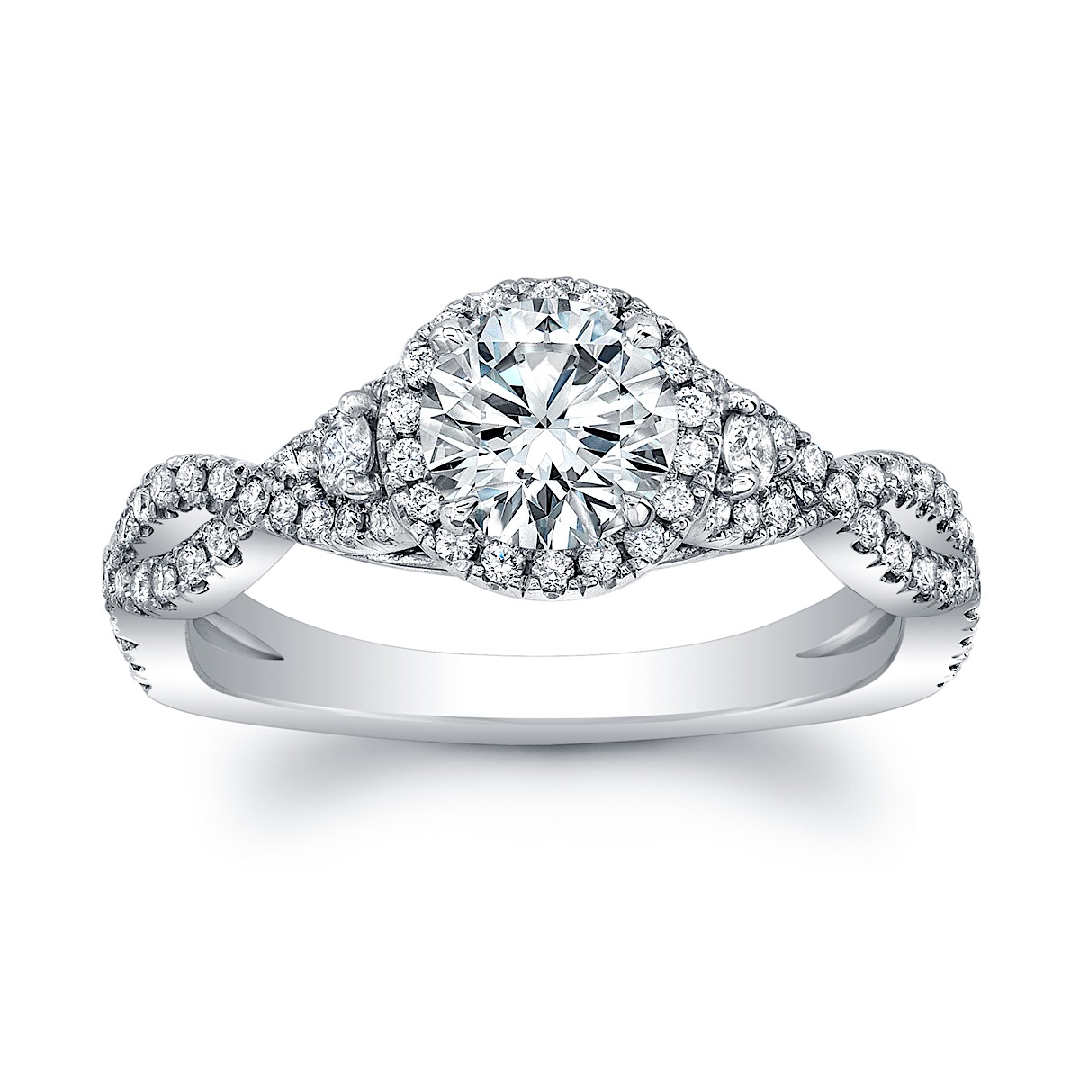 Round Diamond Halo 3-Stone Engagement Ring