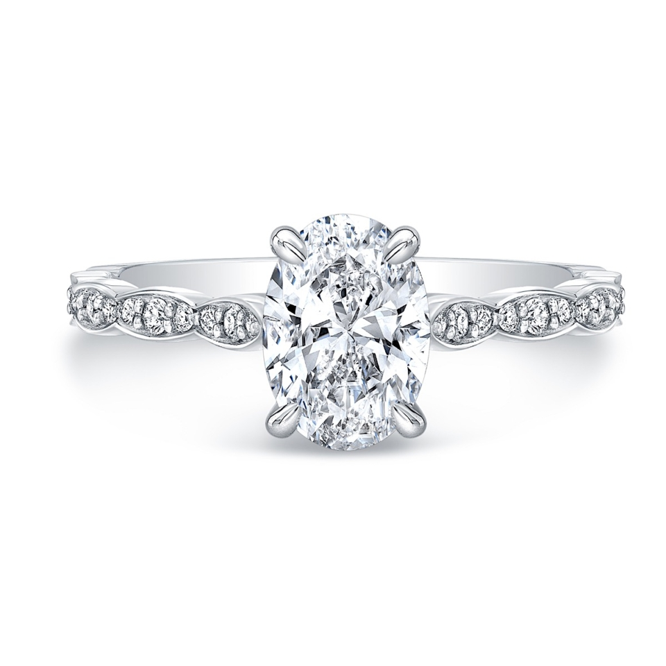 Oval 4-Prong Diamond Engagement Ring