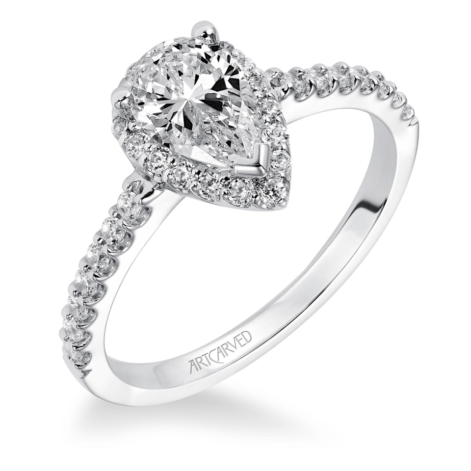 Pear Diamond Engagement Ring With Halo