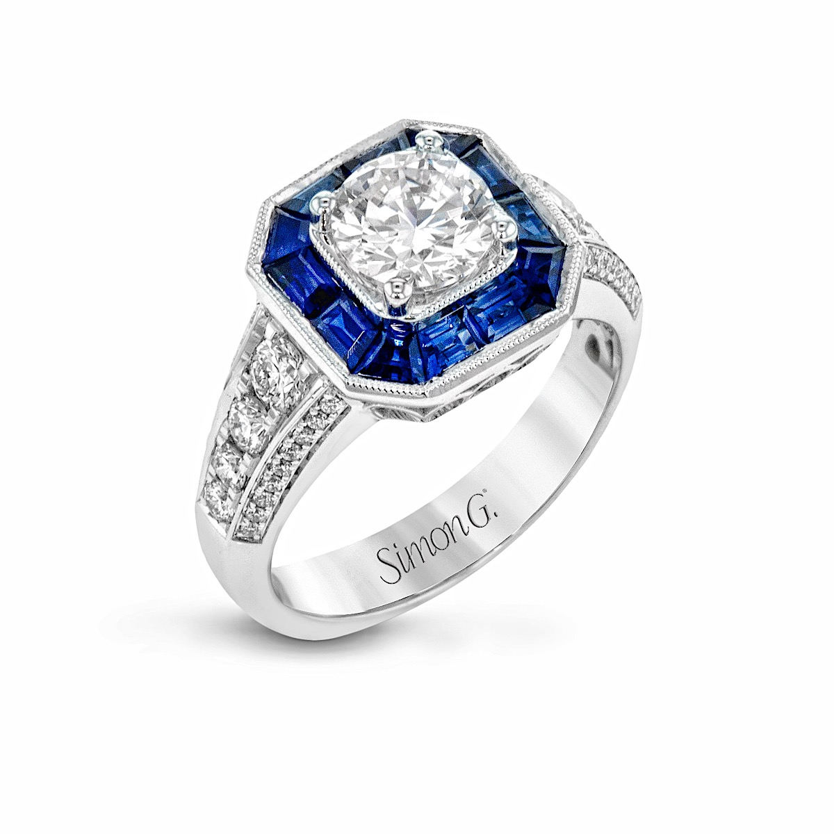Round Diamond Engagement Ring With Blue Sapphire Octagon Halo